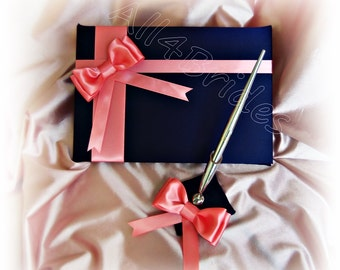 Navy blue and Coral wedding guest book and pen set.  Wedding decorations.