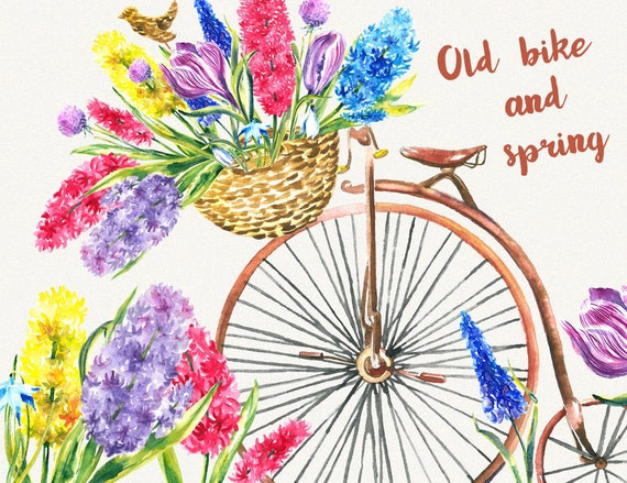 Bike clipart garden clipart spring flower clipart watercolor mightylinksfo