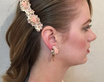 FAIRY PINK EARRINGS Handbeaded by Vintage Jewelry Designer Colleen Toland
