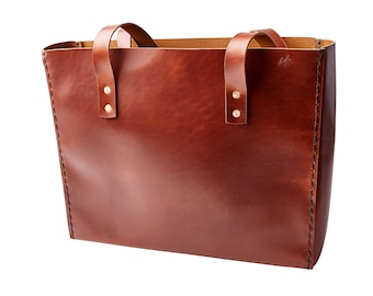 H+B Tote with laptop divider - Burnt Umber Leather