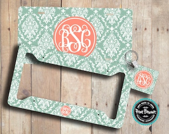 License Plate, Car Plate, Car Tag, Back Car Tag, Mint Coral Damask Monogram License Frame, Bicycle Tag, Front Car Tag, Personalized Tag 54LT