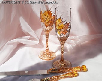 Fall Wedding Glasses with Matching Cake Serving set, Wedding Champagne Flutes, Bride And Groom, Toasting Flutes, Wedding gift, Set of 4 pc