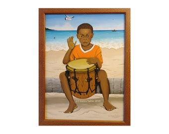 Painting of a Garifuna boy playing the drums at the beach, Art, black boy, drums, Garifuna, caribbean beach