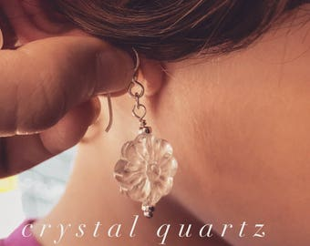 Flower earring ... carved crystal quartz and sterling silver with french hooks, Perth Western Australia