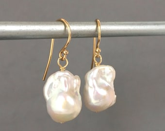 Baroque Pearls - 14 Karat Gold - Large Pearl Earrings - Natural Pearls - Baroque Pearl Drop - Pearl Bridal Earring