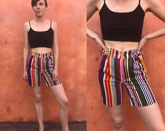 Vintage Colorful 1990s high waist striped cotton shorts. High waisted shorts. pleated shorts vintage 90s shorts. green purple pink gold blue
