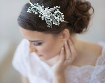 pearl bridal headpiece,  crystal wedding head piece, silver bridal headband, silver bridal crown, rhinestone headband  Style 411