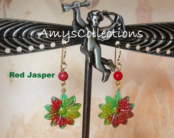 Red Jasper Decennial Flower hand-painted dangle Earrings (1 Pair) One-of-a-Kind