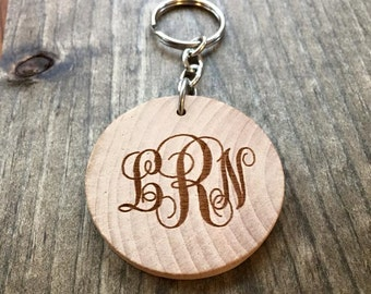 Laser Engraved Thick Wood Keychain Curly Monogram