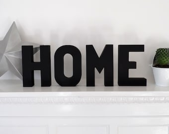 HOME Word-Hand Painted-Wooden Letters-Word Art-Monochrome-Home Decor-Mantle Decor-Wedding Gift-Housewarming Gift-Gift for Her-Gift for Him