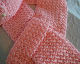Color Choice Gorgeous Cancer Awareness Ribbon Crocheted Womans Hat and Scarf Set Vintage Button Pink Breast (Shown)Made to Order