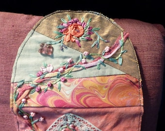Orphan Piece, Hand Pieced Fabric Art Piece, Hand Embroidered, Embellished, Finish as Sm Purse, Wall Hanging, Art Quilt
