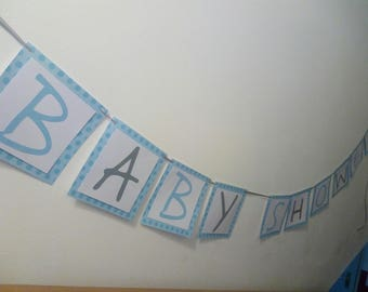 Garland baby shower blue paper