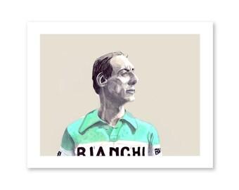 Il Campionissimo- Fausto Coppi- Cycling Portrait- Bike Art- Vintage Cycling Art- Bianchi