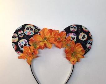 Orange Sugar Skull Coco Park Ears