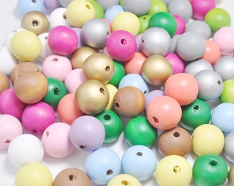 50PCS Mixed Color Wooden Beads,20mm Round Wood ball beads,DIY necklace beads.barcelet beads.wood craft,Make jewellery for selling