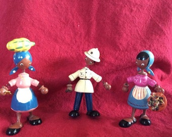 Vintage wooden miniature Caribean dolls