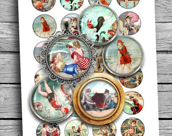 """Seaside Beauties Digital Collage Sheet Printable Circles 25mm 1"""" 1.25"""" 30mm 1.5"""" for Scrapbooking Planner Stickers Magnets Digital Download"""