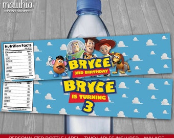 Toy Story Water Bottle Label - PERSONALIZED - Disney Toy Story Birthday Party Printable Label - Woody Buzz Lightyear Jessie