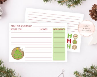 INSTANT DOWNLOAD, Recipe Card, Christmas Recipe Card, Christmas Cookie Exchange, Cookie Exchange, Recipe Cards, Christmas, Christmas Invites