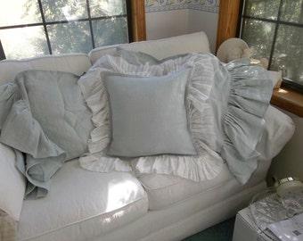 French Blue Ruffled Linen Pillow Custom Sizes Matching Long Ruffled Pillowcases French Country    Pillow Shams