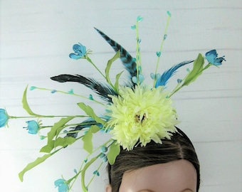 Turquoise Cream Double Sided Flower Feather Kentucky Derby Fascinator Headband Headpiece