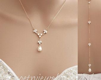Rose Gold Bridal Backdrop Necklace, Rose Gold Back Necklace, Rose Gold Wedding Jewelry, Crystal Back Necklace, Bridal Jewelry, Leila