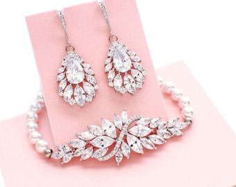 CZ jewelry set, crystal wedding bracelet, crystal wedding earrings, crystal bridesmaid jewelry, wedding accessories, bridal jewelry set