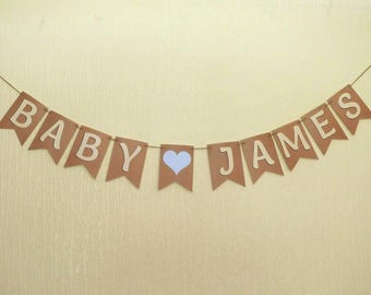 PERSONALISED Baby Shower NEW BABY Bunting - other colours and embellishments available