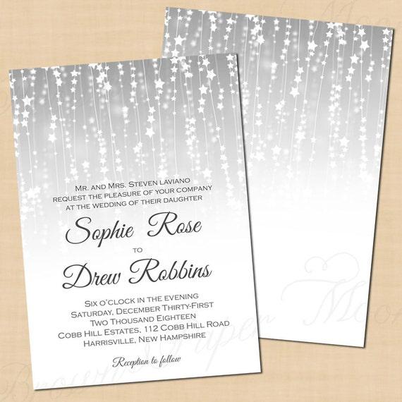 Silver Star Streamers Wedding Invitation 5 x 7