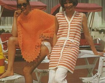 Vintage Crochet Poncho Tunic Pattern PDF 490 from WonkyZebra