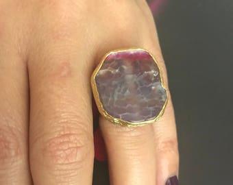 Gemstone Ring , Agate ring, Purple Ring, Gold Filled Ring, Adjustable ring