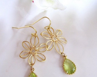 Green and gold Teardrop Earrings, Gold Flower Connector, Gold Petals, Dainty, Botanical, Bridesmaid Earrings, Wedding Jewelry.