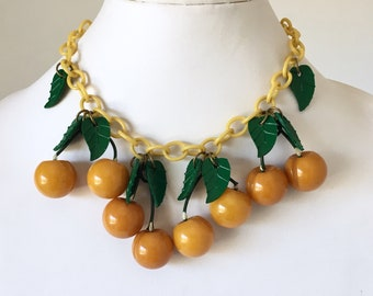 Vintage Rare Butterscotch Bakelite Cherries Necklace