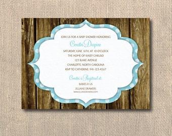 Bridal Shower Invitation, Baby Shower, Wood Slats, Polka Dots, Rustic Shower Invitation