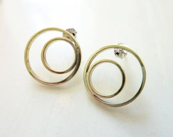 Sunrise Sunset Earrings, Soldered Gold Brass Circle Studs, Sterling Silver Posts, Mid Century Modern, Geometric, Asymmetrical, Everyday