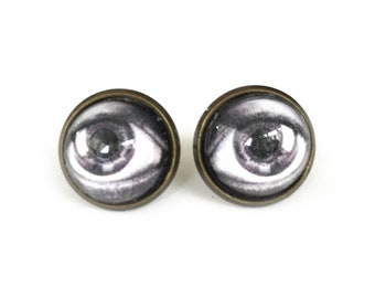 Escher Eye Antique Brass Post Earrings