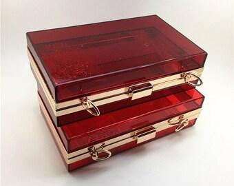 18cm x 11cm transparent Burgundy minaudiere box clutch DIY kit L51C