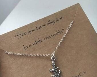 Crocodile Necklace, Silver Crocodile Necklace, Alligator Necklace, Crocodile Pendant,Mothers Day Gift