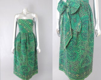 Endless Summer tribal tiki dress | vintage 1960s wrap dress | 60s hawaiian dress