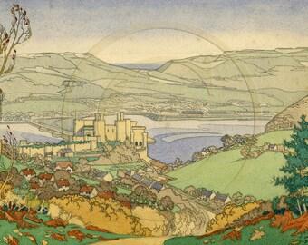 Wales, Welsh Landscape, Conwy Castle, UK, 1940s, Print