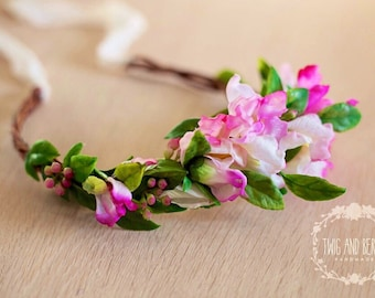 Pink Berry Floral Crown. Maternity Wreath, Bridal Halo, Photography Prop, Adult Flower Headband, Photo Prop, Statement Vine Hair Piece