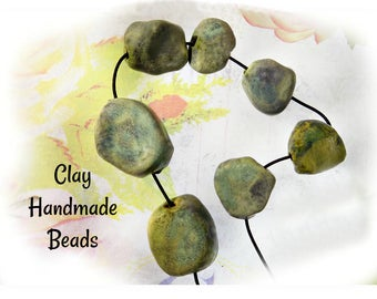 Handmade rustic beads - handmade ceramic clay , chunky clay beads supplies, set of 7 beads - Handmade Artisan Beads   # 110