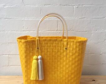 Small Yellow Handmade Basket Bag with Tassel: Market Bag //  Beach Bag // Shopping Bag