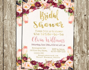 Floral Bridal Shower Invitation Maroon and blush Bridal Shower Invitation Hens Party Invitation Watercolor flowers Spring Bridal Shower