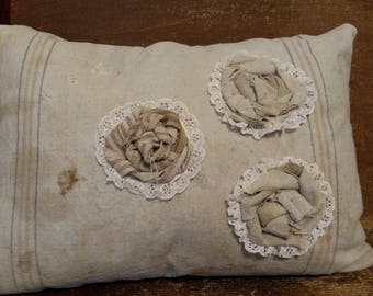 Grain Sack Pillow with Three Fabric Flowers