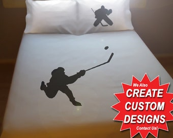 Hockey Duvet Cover Sheet Set Bedding Queen King Twin Size Slapshot Puck Player Goalie full double cotton duvet covers sheets fan gift kids