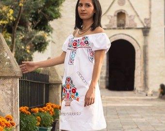 Mexican off the shoulder mini dress hand embroidered - White 100% cotton  (manta)
