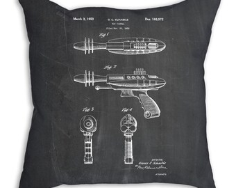 Toy Ray Gun Patent Pillow, Toy Room Decor, Game Room Decor, Vintage Toys, PP0498