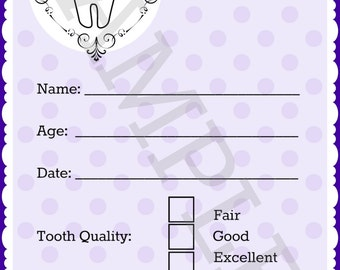 Tooth Fairy Receipt - Purple - Instant Download!